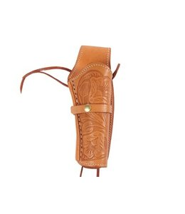 "Hand-Tooled Leather Holster 6"" Natural - Right Hand"