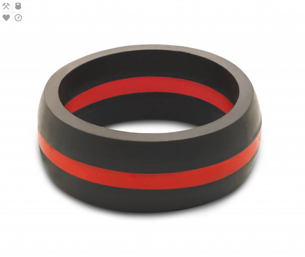 Qalo QALO Men's Silicon Ring, Thin Line, Red