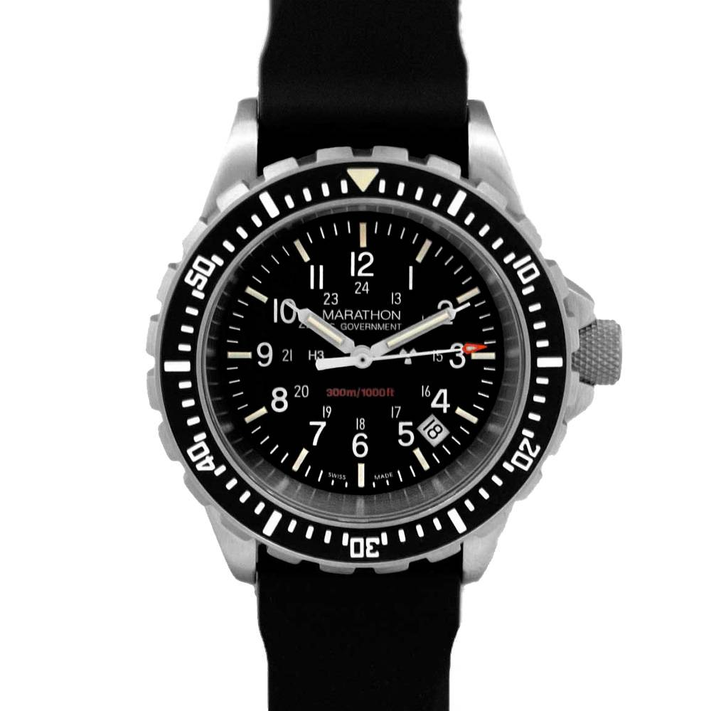 Marathon Watches Marathon Watches TSAR Swiss Made Military Issue Mil-spec Diver's Quartz Watch w/ US Gov't Dial & Tritium Illumination