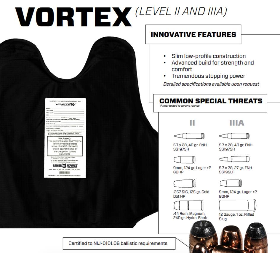 Armor Express Vortex Level IIIA NIJ Model# AEXPG2-A-IIIA