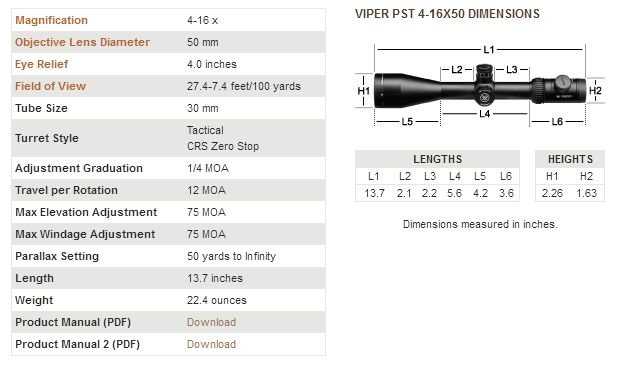 Vortex Vortex Viper PST Gen I (Precision Shooting Tactical, FFP, 30mm Tube) 4-16x50 EBR-1 MOA
