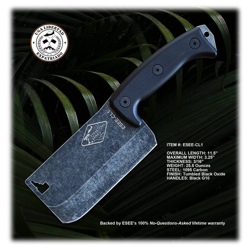 ESEE Knives ESEE Knives/Expat Knives Cleaver w/ Black G10 Handles