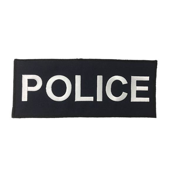 "DS Tactical Police Patch 4""x10"" White on Navy"