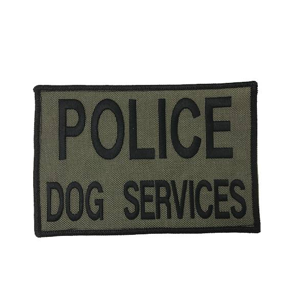 "DS Tactical Police Dog Services Patch 4""x6"" Black on Ranger Green"