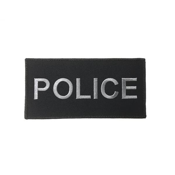 "DS Tactical Police Patch 3""x6"" Grey on Black"