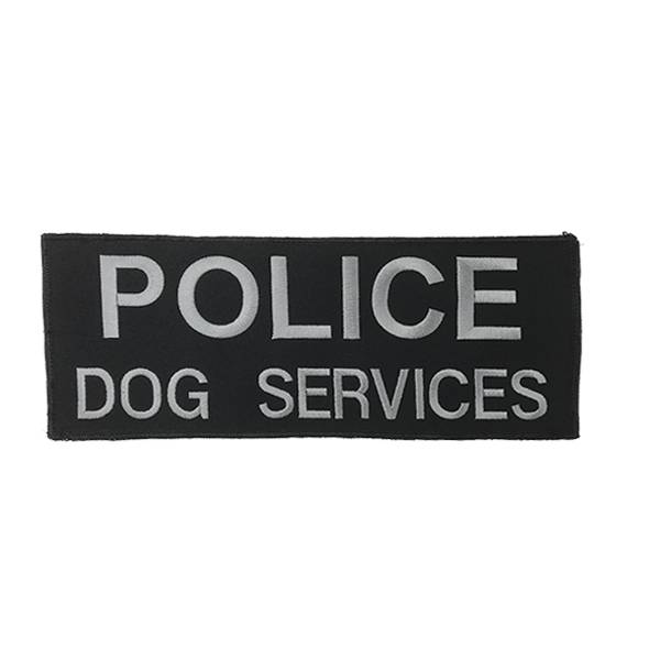 """DS Tactical Police Dog Services Patch 4""""x10"""" Grey on Black"""