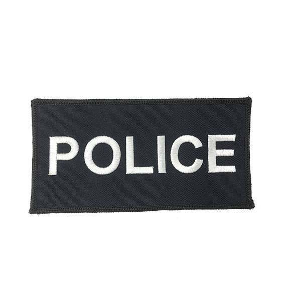 "DS Tactical Police Patch 3""x6"" White on Navy"