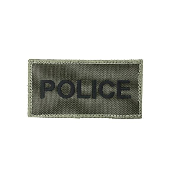 "DS Tactical Police Patch 1""x6"" Black on Ranger Green"