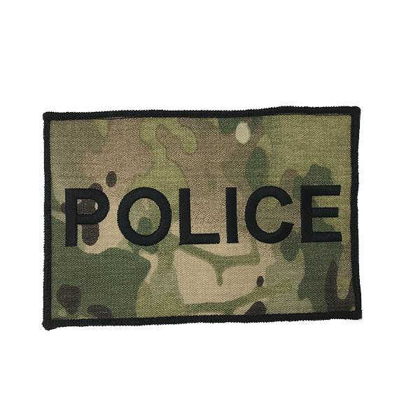"DS Tactical Police Patch 4""x6"" Black on Multicam"