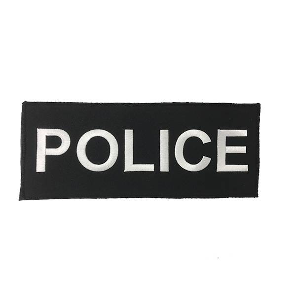 "DS Tactical Police Patch 4""x10"" White on Black"