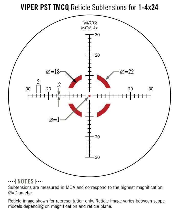 Vortex Vortex Viper PST 1–4x24 SFP Riflescope with TMCQ Reticle (MOA) Gen 1