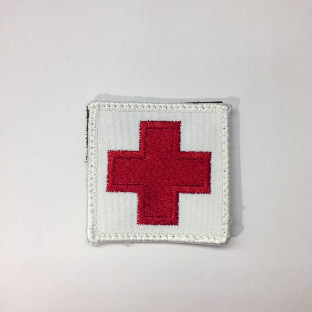"""Custom Medic Square Patch 2""""x2"""" Red on White"""