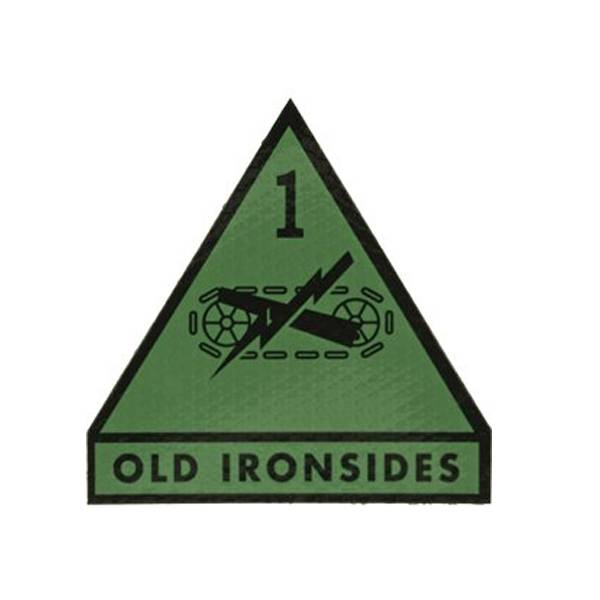 1st Armored Division OLD IRONSIDES IR Patch, OD Green