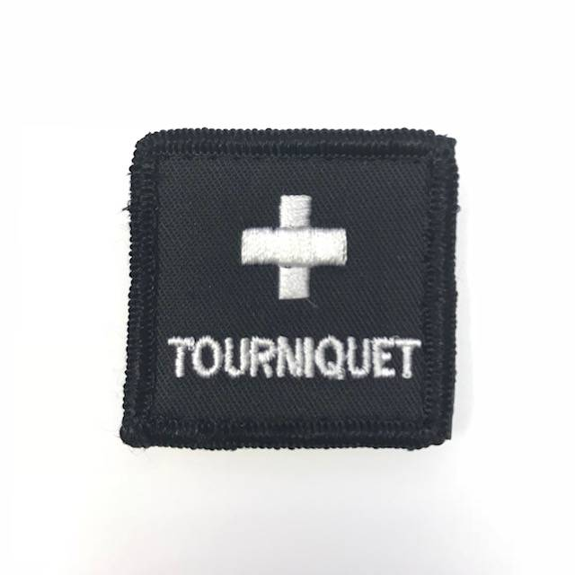 "Custom Tourniquet Medical Cross Patch - 1"" Square, Black"