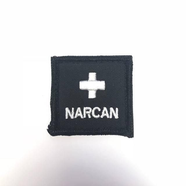 "Custom Narcan Medical Cross Patch - 1"" Square, Black"