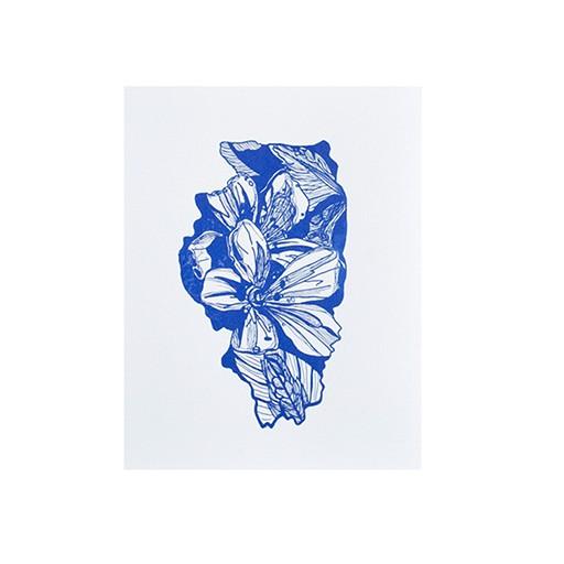 "Thimblepress Illinois Purple Violet Letterpress Print 11x14"""