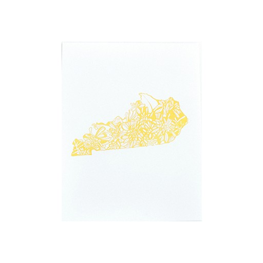 Thimblepress Kentucky Goldenrod Letterpress Print 11x14""
