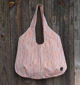 Jill Shopping Bag in Canvas Pinstripe Paprika