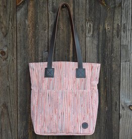 Biscotti Tote Bag in Canvas Pinstripe Paprika