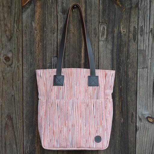 Biscotti Tote Bag in Canvas Pinstripe Paprika