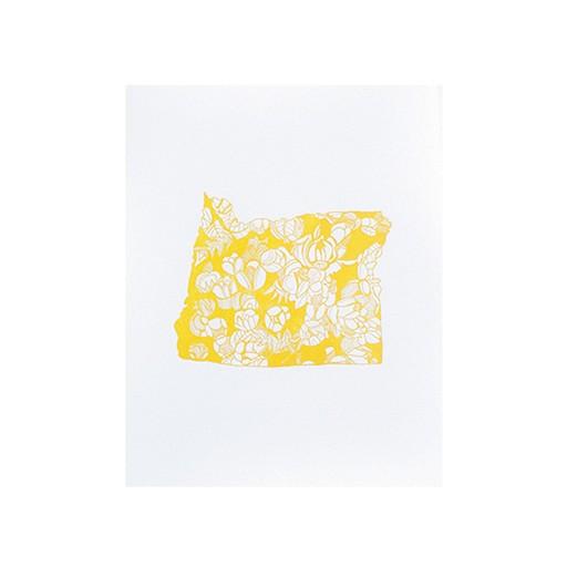 "Thimblepress Oregon Grape Letterpress Print 11x14"""