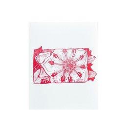 """Thimblepress Pennsylvania Mountain Laurel Letterpress Print 11x14"""""""