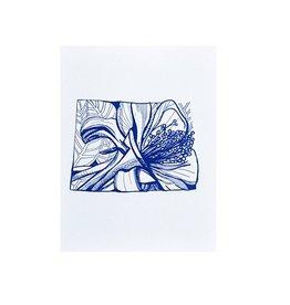 "Thimblepress Colorado Rocky Mountain Columbine Letterpress Print 11x14"""