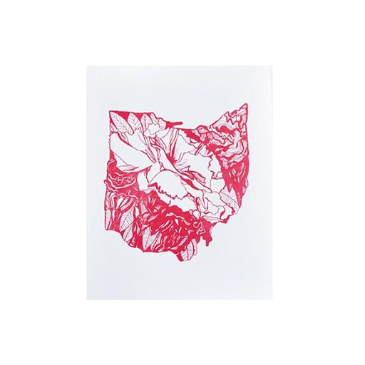 "Thimblepress Ohio Scarlet Carnation Letterpress Print 11x14"""