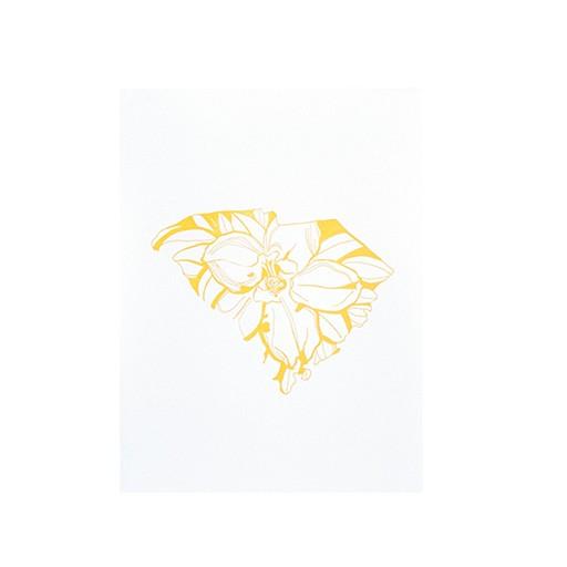 "Thimblepress South Carolina Yellow Jessamine Letterpress Print 11x14"""