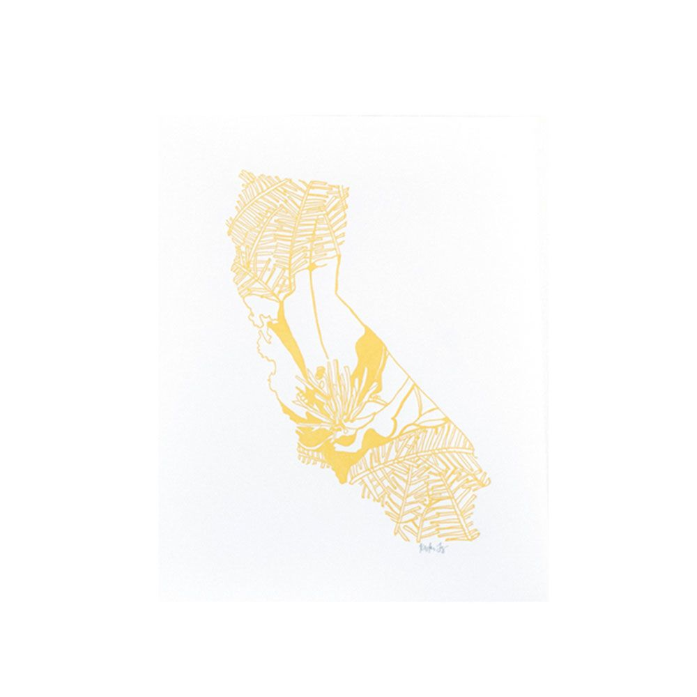 "Thimblepress California Poppy Letterpress Print 11x14"""
