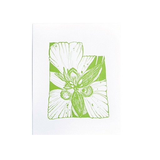 "Thimblepress Utah Sego Lily Letterpress Print 11x14"""