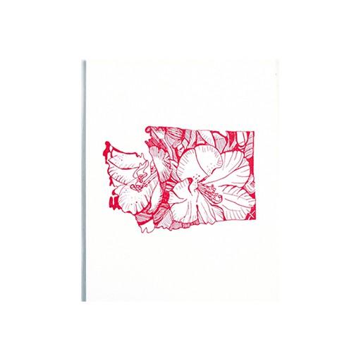 "Thimblepress Washington Cost Rhododenron Letterpress Print 11x14"""