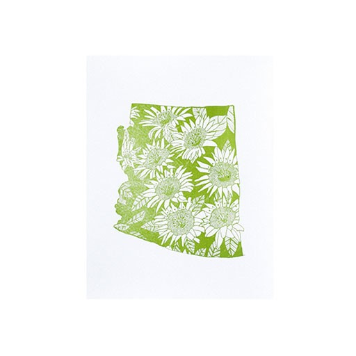 "Thimblepress Arizona Saguaro Cactus Blossom Letterpress Print 11x14"""