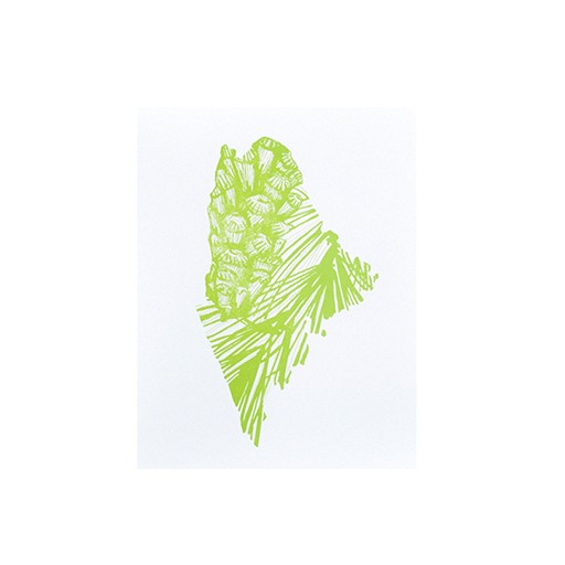 """Thimblepress Maine White Pine Cone & Tassle Letterpress Print 11x14"""""""