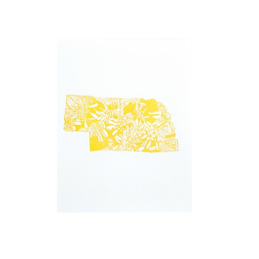 "Thimblepress Nebraska Goldenrod Letterpress Print 11x14"""