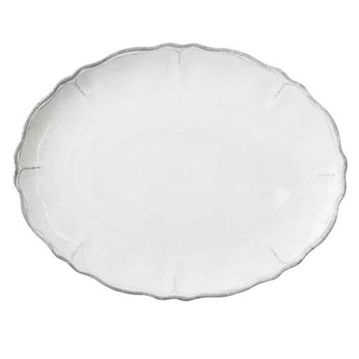 """Le Cadeaux Rustica Antique White Melamine 16"""" Oval Platter"""