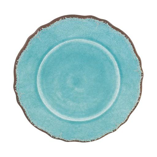 """Le Cadeaux Antiqua Turquoise Melamine 11"""" Dinner Plate"""