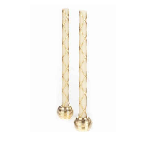 "12"" Tapers Candles Set/2 Fishnet Ivory/Gold"