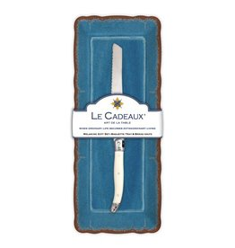 Le Cadeaux Baguette Tray w/ Bread Knife Gift Set Antiqua Blue