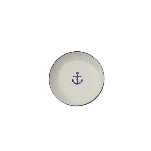 "4"" round stoneware dish with Nautical Anchor"