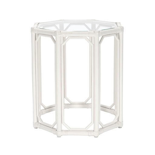 Selamat Regent Octogon End Table in White with Glass top