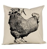 Hand Screen Printed Rooster Pillow