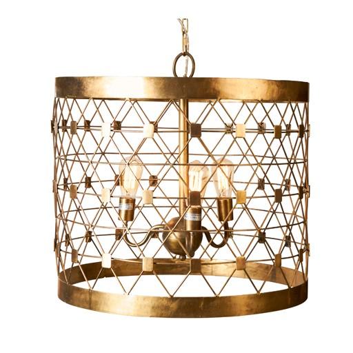 "Selamat Brass Pendant Chandelier Light Hollow Square  W21""xD21""xH26"""