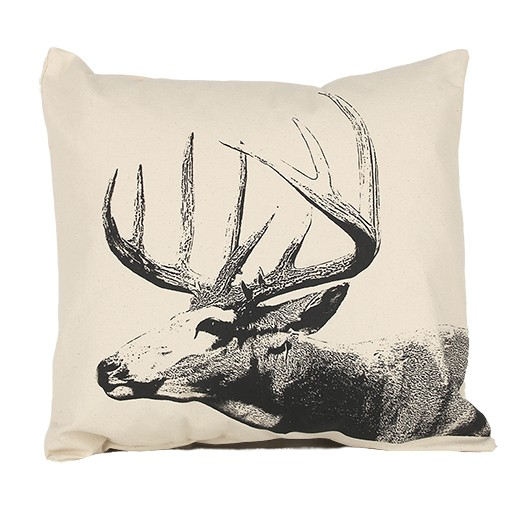 Hand Screen Printed Buck Throw Pillow