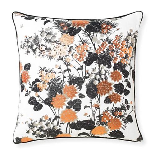 Selamat Chinese Gardens Black Pillow 20x20