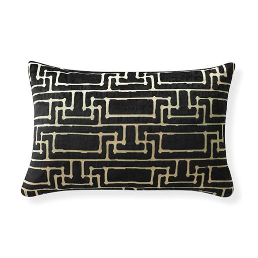 "Selamat Yvan's Geo Black Lumbar Pillow 16x24"""