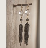 Mark Edge Jewelry Vintage Gunmetal/Rock Crystal Earring by Mark Edge