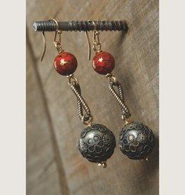 Silver & Cloisonne Ball Drop Earring