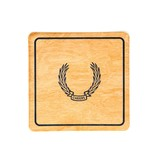 Wood Coaster with Laurel - Set of 12