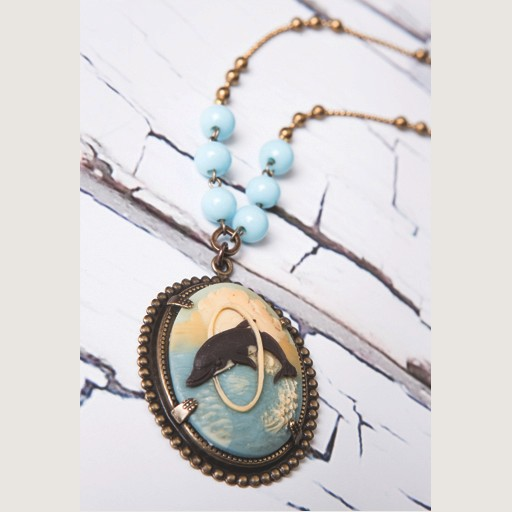 "Mark Edge Jewelry Vintage Cameo/Turq Beads/34""L Necklace by Mark Edge"